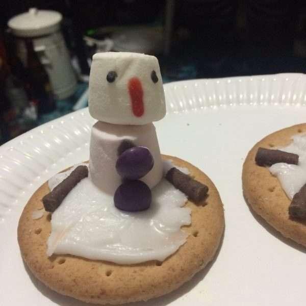 Melting snowman biscuit
