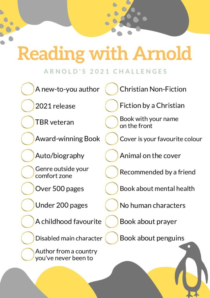 A list of Arnold's 2021 reading challenges